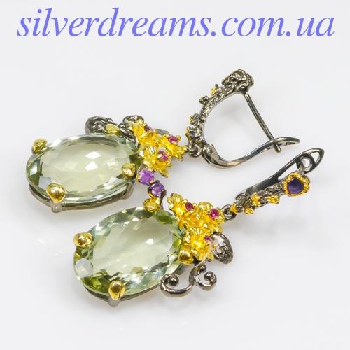 Серебряные серьги с крупным празиолитом