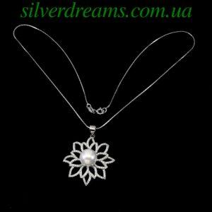 Жемчужный кулон с цепочкой в серебре