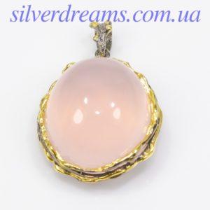 Серебряный кулон с розовым кварцем