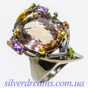 Авангардное серебряное кольцо с аметрином