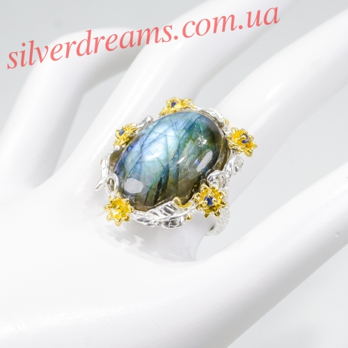 Серебряный перстень с крупным лабрадоритом