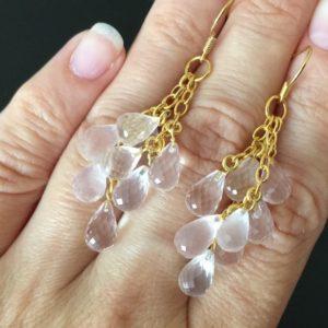 Серебряные серьги Гроздья с розовым кварцем