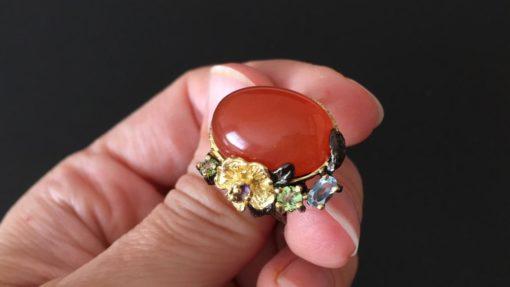 Серебряное кольцо Сердолик Топаз Хризолит Аметист