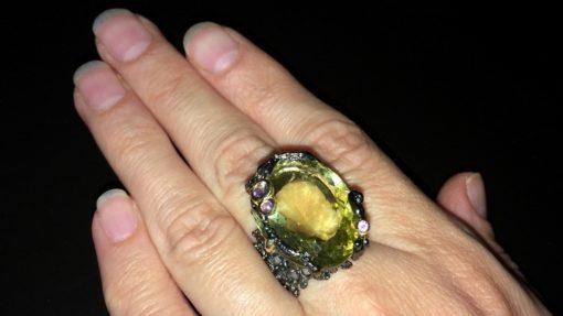 Серебряное кольцо с 30-каратным лимонным кварцем