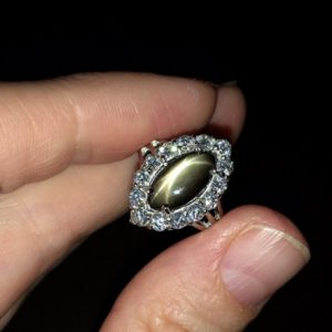Серебряное кольцо с чёрным звёздчатым сапфиром