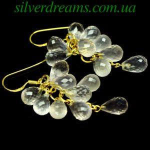 Серебряные серьги Виноградные Гроздья с розовым кварцем