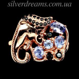 Серебряное кольцо Слон с танзанитами и шпинелью