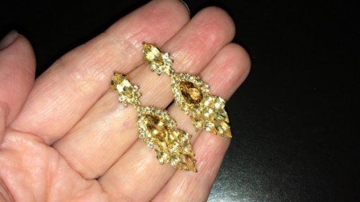 Серебряные серьги-люстры с цитринами