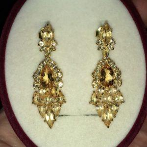 Серебряные серьги-шандельеры с цитринами