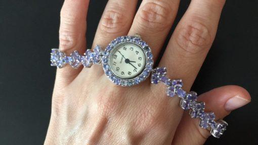 Серебряные часы/браслет с танзанитами