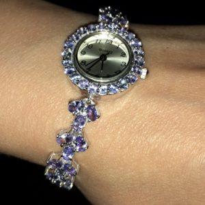 Серебряный браслет/часы с танзанитами