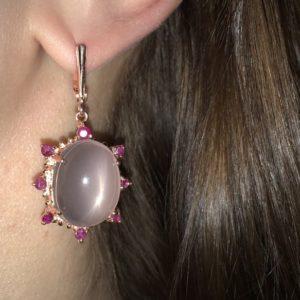 Серебряные серьги с крупным розовым кварцем