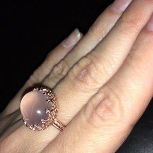 Серебряное кольцо Корона с розовым кварцем