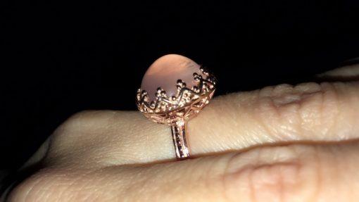 Кольцо Корона с розовым кварцем