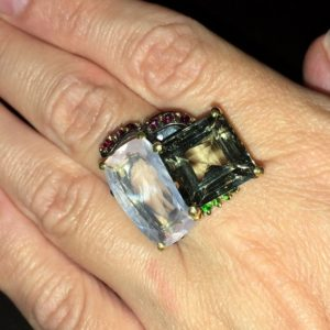 Серебряное кольцо Розовый Кварц & Празиолит