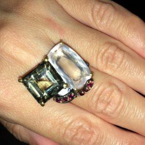 Серебряный перстень Празиолит & Розовый Кварц