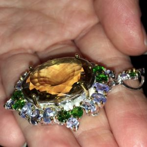 Серебряная брошь/кулон с крупным цитрином танзанитами диопсидами