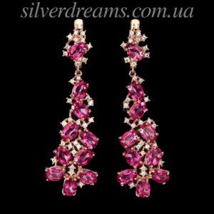 Серебряные серьги с розовым топазом