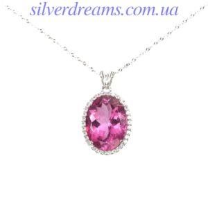 Серебряный кулон/колье с розовым топазом