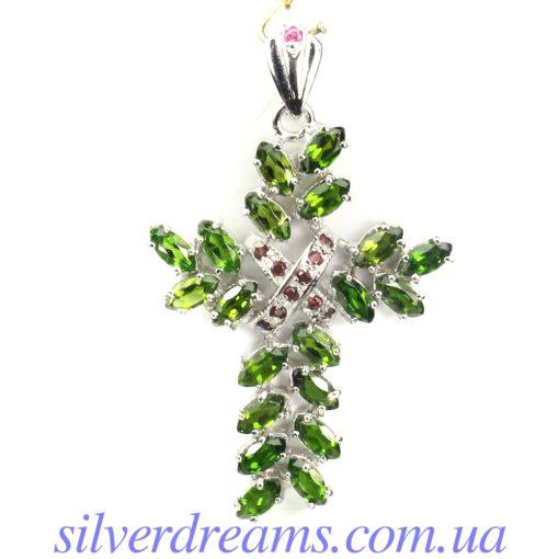Серебряный кулон Крестик с диопсидами