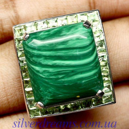 Серебряное кольцо Малахит-Хризолит