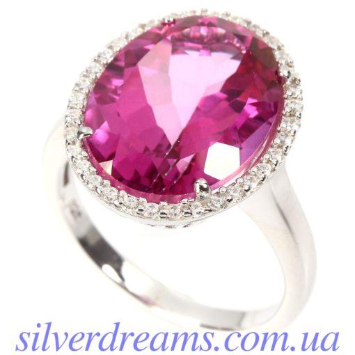 Серебряное кольцо с розовым топазом