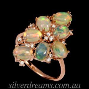 Опаловое кольцо в серебре с позолотой