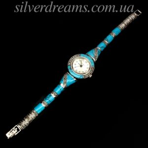Часы/браслет с бирюзой в капельном серебре