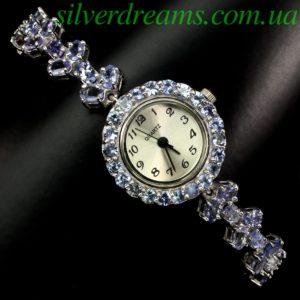 Часы/браслет с танзанитами в серебре