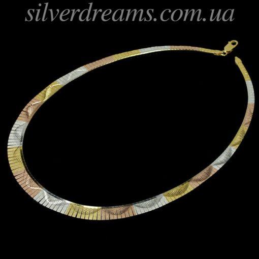 Серебряная цепь/ожерелье в трёхцветной позолоте
