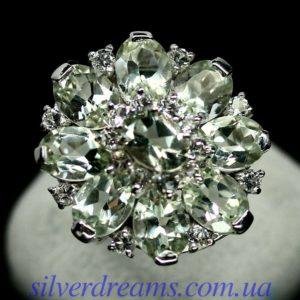 Серебряный перстень с празиолитами