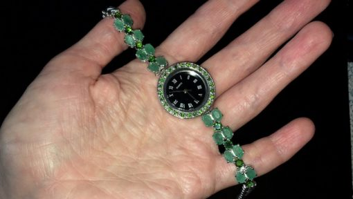 Серебряные часы/браслет с изумрудами и диопсидами