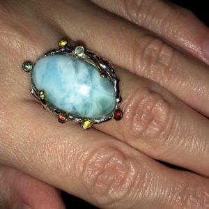 Серебряное кольцо с крупным ларимаром