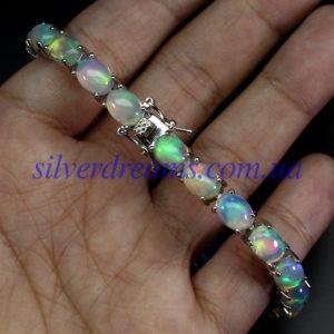 Опаловый браслет в серебре