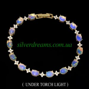 Серебряный браслет с эфиопскими опалами