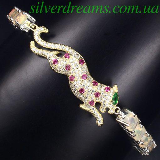 Серебряный браслет Пантера с гранёными опалами