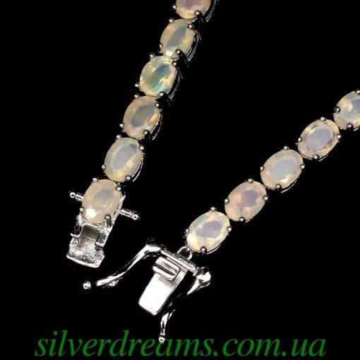 Серебряный браслет с гранёными опалами