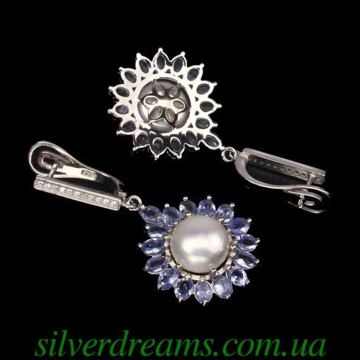 Серебряные серьги с жемчугом и танзанитами