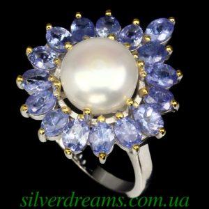 Серебряное кольцо Жемчуг Танзанит
