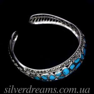 Бирюзовый браслет в серебре