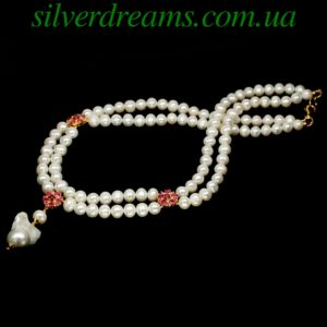 Жемчужное ожерелье с рубинами в серебре