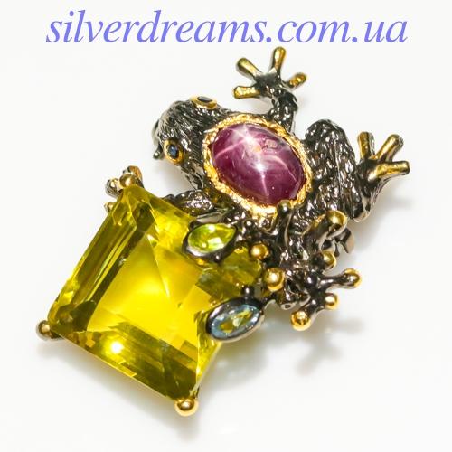 Серебряная брошь Лягушка с лимонным кварцем и звёздчатым рубином