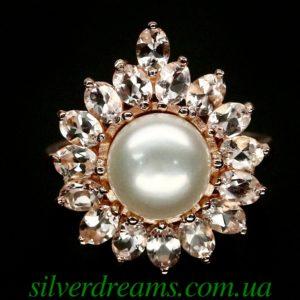 Серебряное кольцо с жемчугом и морганитами