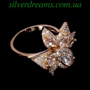 Серебряное кольцо с морганитами