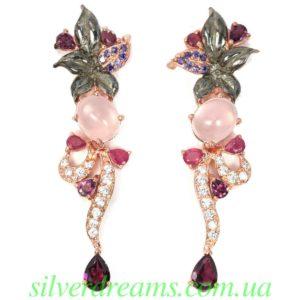 Серебряные серьги Розовый кварц Рубин Родолит