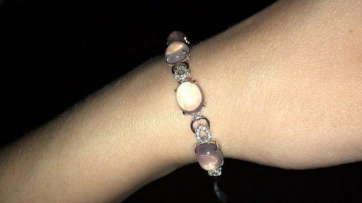 Серебряный браслет с розовым кварцем