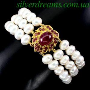 Жемчужно-рубиновый браслет в серебре
