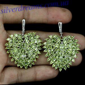 Серебряные серьги-люстры с хризолитами