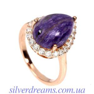 Серебряное кольцо с чароитом