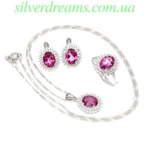 Серебряный гарнитур с розовым топазом